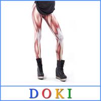 Stretch Fantasia Digital Print Muscle Leggings Hot Shapers PU Pants Women