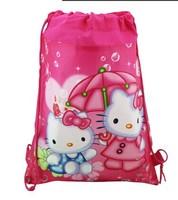 2013 Hot Selling ,hello Cartoon kitty Drawstring Backpack School Bag Handbags, waterproof  camping bags for boys & girls