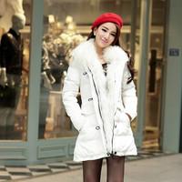 2013 winter white large fur collar slim wool coat medium-long down female