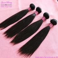 Free shipping queen berry unprocessed grade 5a peruvian virgin 100% human hair extensions 4pcs lot eurasian silky straight