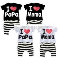 LittleSpring Retail Children clothing sets summer I love Mom papa suit cotton children's clothes Short-sleeve suit kids clothes
