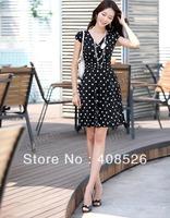 2014 Sexy Career Women's High Waist Slim Short Sleeve V Neck Polka Dot OL Dress 2 Colors 4 Sizes 9580