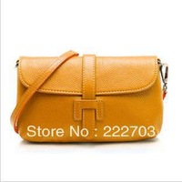 new 2014 free   cowhide casual genuine leather women messenger bag high quality fashion cross body bags neon color korean