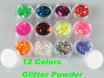 Specialized Glamorous Creative Nail Design Unique 12 Colors Polyester Glitter Powder