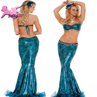 Free shipping (1 sets= skirt+underskirt)new women flash blue mermaid costumes bikini dinner suit sexy uniform HMR001