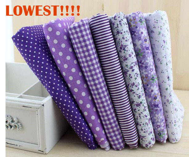 FREE SHIPPING 50cm*50cm 7 pieces/lot Purple Cotton Fab
