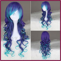 New cheap VOCALOID3 LUKA Blue & purple Synthetic Long Curly Cosplay Anime wig women party wigs