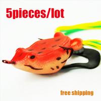 5pcs/lot Soft Frog Lure Fishing Lures/Soft Bait Hooks minnow 10g 60mm