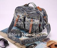 Free Shipping Women Retro Denim Handbags Shoulder Cross Body Leisure All-Match Jeans Messenger Bag For Girls School Student 3655