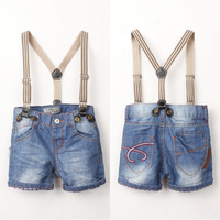 eb252 new 2014 denim children pants for boys clothes casual boys shorts jeans with overall free shipping 6pcs/ lot