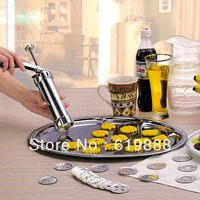 Biscuit Machine 24Pcs/set Stainless Steel Moon Cake Extruder Machine Cake Decorating Gun Cake Baking Tools