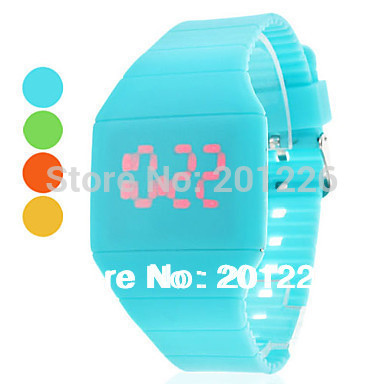 11 color.Fashion Girls and Boys Student Storm New Touch Screen LED Digital Clock Colorful Silicone Women Fitness Sports Watches.(China (Mainland))