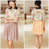2014 New Fashion Summer Sweet Women Girls Double Layer Chiffon Elastic High Waist Layered Short Pleated Skirt
