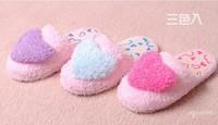 Women's warm winter autumn soft Heart Design Coral Fleece Lovers Indoor Floor Home Slippers women Sky Blue/Red/Purple