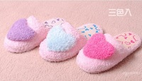 Women's warm winter soft Heart Design Coral Fleece Lovers Indoor Floor Slippers Sky Blue/Red/Purple