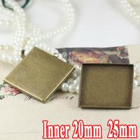 100PCS antique bronze wholesale 20/25mm square cabochon bezel setting pendant blank base tray vintage necklace pendant findings