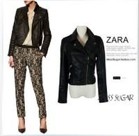 Classic!!! ZA Vintage Notched Lapel Punk Rivets Studded PU Faux Leather Biker short Jacket