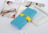 new candy colored women's Long Wallet Korean version  women's Leather purse girl's high-end fashion purse free shipping