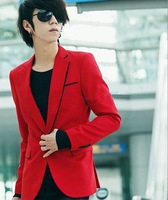 Free Shipping men suit blazer Red blazer casual male slim blazer men's clothing New 2013 red suit male New Arrival!
