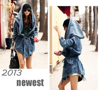 2014 HOT Jeans Woman Surprised Cool Fashion Women Lady Denim Trench Coat Hoodie Hooded Outerwear Jean plus large size punk