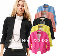 Free Shipping New 2013 Fashion Slim Women Short Style Plus 4 Size 5 Candy Color Blazer Jacket