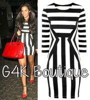 2014 New HOT Womens Celeb Monochrome Black White Striped Optical Illusion Party Bodycon Dress