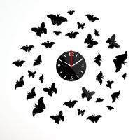 Hot Sale 2014 most popular DIY wall clock Home decoration crystal mirror clocks wall art watch FREE SHIPPING silver