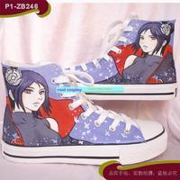 naruto Konan hand-painted high-top  canvas  male women's shoes
