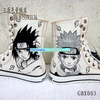 Skateboarding male graffiti  hand-painted  high-top canvas male naruto  Uchiha Sasuke shoes