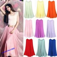 Free Shipping 2013 Hot Stye Pretty Lady's Full Circle Chiffon Skirt Long Maxi Skirt