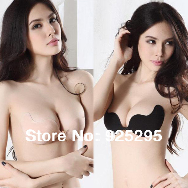 Free Shipping SL00225 Women Self-Adhesive Push Up Silicone Bust Front Closure Strapless Invisible Bra(China (Mainland))