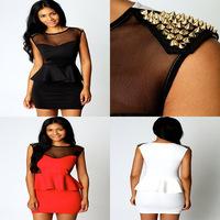 New Sexy Gold Studs Rivets Peplum Dress Casual Novelty Dresses Clubwear Black White Red Vestios Plus Size Women Clothing S-XL