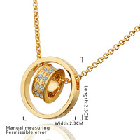 High Quality!18K Gold And Platinum Plated Noble round  Necklaces & Pendants Nickel Free Crystal Jewelry ,Factory price N592