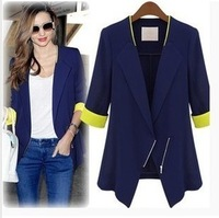 Free shipping ZA* WOMAN SUIT BLAZER FOLDABLE BRAND JACKET women clothes suit Zipper shawl cardigan Coat  blue,white S,M,L,XL6826