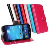 1pcs Free shipping PU flip Leather s4 mini cover Case For Samsung Galaxy I9190 I9192 I9195