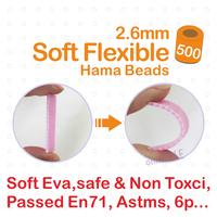 2014 New - 2.6mm Soft Flexible Mini Hama Beads 500pcs/bag 100% Quality Guarantee Perler Beads, Fuse Beads + Free Shipping!!!