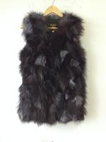 DHL/EMS free shipping Genuine fox fur vest women's long fox fur jacket winter fox fur coat custom big size Wholesale TF0397