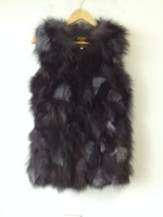 EMS free shipping Genuine fox fur vest women's long fox fur jacket winter fox fur coat custom big size Retail/Wholesale TF0397