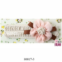 Latest faddish nice multi color delicate pleasing peach flower cute baby hair band wholesale