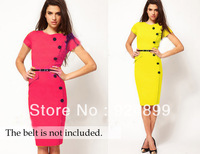 2013 free shipping Formal button Pencil Vintage Pinup Bodycon Fitted Party Shift Sheath Knee_Length Career Plus Size Dresses