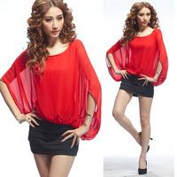 2014 New Fashion Womens Lady Chic Blouse Bat Sleeve Shirt Frill Chiffon, Free Shipping