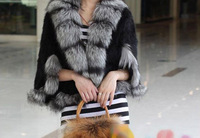 2013 New Real Knit Mink Fur Shawl With Silver Fox Fur Trim  Poncho Warm Winter Mink Fur Jacket Women TPPM0003