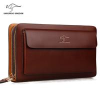 2015 Kangaroo kingdom luxury designer handbags genuine leather bag big capacity men clutch bags vintage bolsas hand bag for man