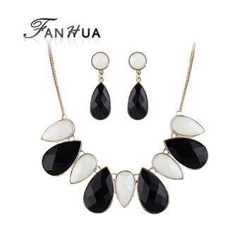 Turkish  Imitation Gemstone Designer Jewelry Sets Black Tibetan Necklace Statement Water Drop Earrings New 2014