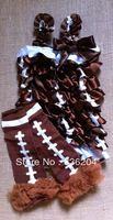 (MOQ 1 set!!!)Hot Sale High Quality Satin Football Petti Romper,Multicolor Matching Ruffle Leg Warmers for Kids Free Shipping