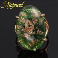 Special Design Jewelry High Quality Semi Precious Stone Jewelry Big 18KGP Green Stone Ring