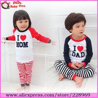 Wholesale 10 sets/lot 2013 New Arrival Children's Autumn Pajama Sets,I Love Papa Mama Pyjama For Boys&Girls,Kids Sleepwear