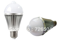 Hot Sale! Free Shipping Dimmable E27 B22 85-260V 6W 650LM PIR infrared motion sensor & light sensor led bulb