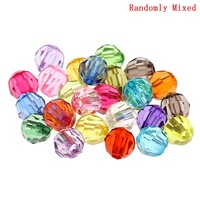 """500PCs Mixed Acrylic Faceted Round Spacer Beads 6mm(2/8"""") Dia.(B21782)8seasons"""