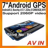 "Android4.0 Tablet PC MID 7""HD Display IGO GPS Navi Boxchips A13 1.2Ghz 512MB/8GB AV IN FMT WIFI Support 2060P Video External 3G"